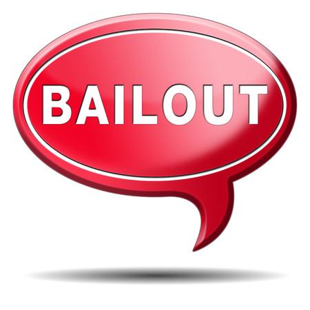 Rescate o quiebra crisis económica y la recesión financiera icono de la muestra o el botón Foto de archivo - 23933325