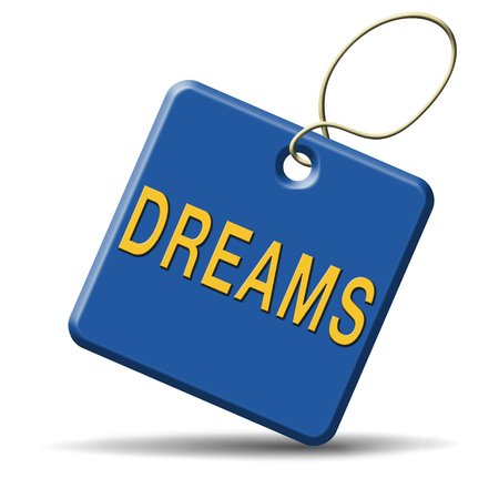 realize: dreams realize and make your dream come true be successful and accomplish your goals button or icon with text and word concept Stock Photo