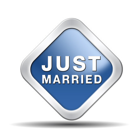 just married button icon sign or sticker marriage card or date Stock Photo