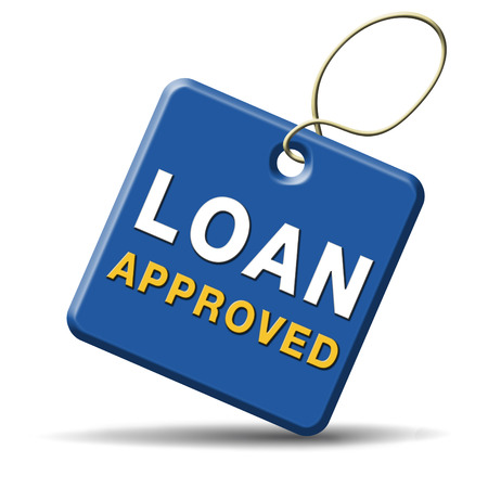 mortgage application: loan approved icon or button loaning money for car house education or approve mortgage funding Stock Photo