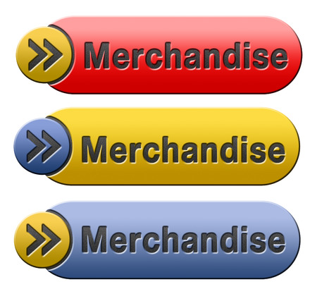 webshop: merchandise webshop selling online products in web shop  button or icon Stock Photo