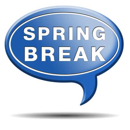 spring break: spring break holliday or school vacation icon or button