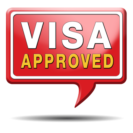 visa approved: visa approved immigration stamp for crossing the border passing customs for tourism and passport control approval to enter country Stock Photo