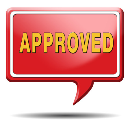 approved passed test and access granted approval and accepted accredited button or icon Stock Photo