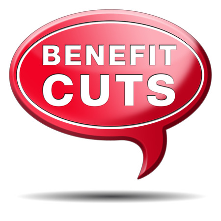cutback: Benefit cuts tax cut on housing child and social works reduce spending Stock Photo