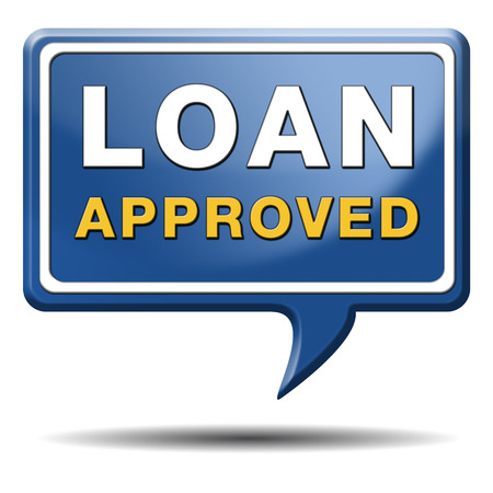 loan approved icon or button loaning money for car house education or approve mortgage funding Stock Photo - 23992983