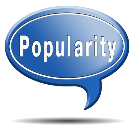popularity popular: popularity fame and famous label or icon for bestseller or market leader and top product or rating in the charts Stock Photo