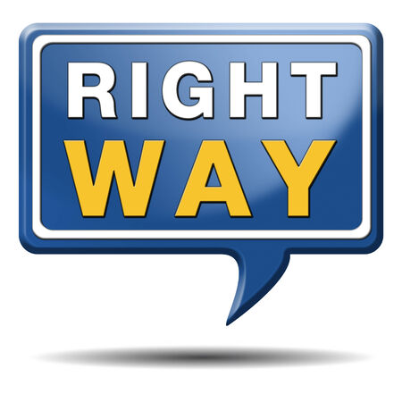 right of way: right way decision or direction for answers on questions  Stock Photo