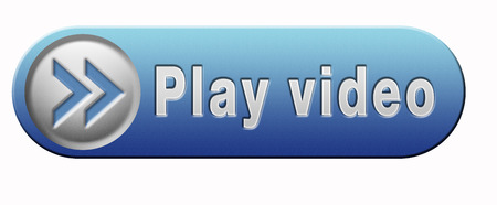 play icon: Video play clip or watch movie online or in live stream, blue multimedia button banner or icon Stock Photo