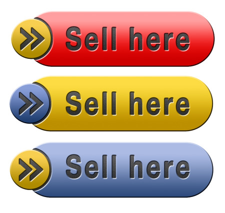 webshop: Sell products online at internet webshop, web shop selling button or icon Stock Photo
