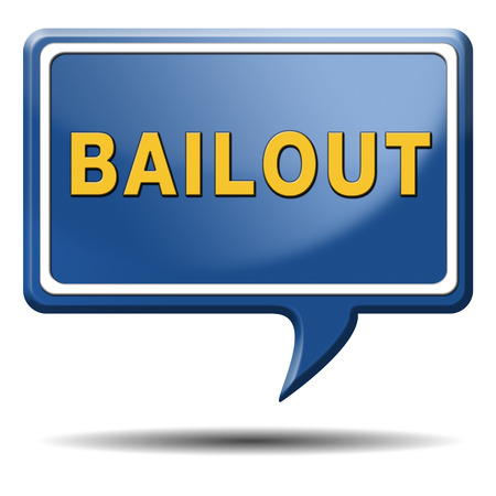 bailout or bankruptcy economic crisis and financial recession icon sign or button photo