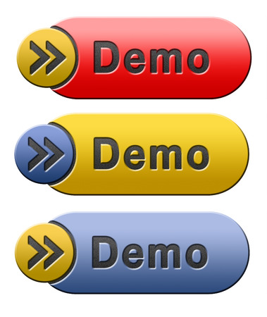 Demo download button or icon for free trial demonstration photo