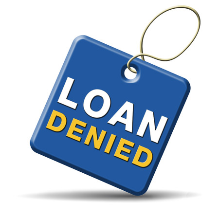 loan denied icon or button loaning money for car house education or mortgage Stock Photo - 24420817