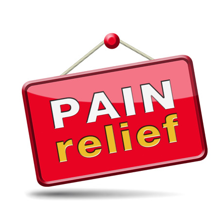pain relief or management by painkiller or other treatment chronic back injury sign with text Stock Photo - 24421070
