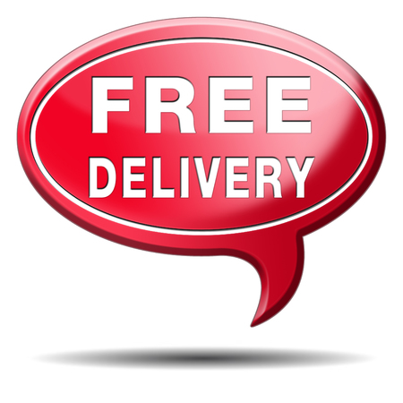 webshop: free delivery or package shipping from internet web shop order, webshop button or sticker