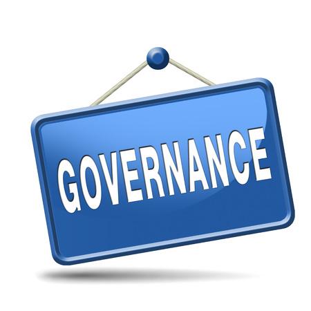 governance: bestuur de besluitvorming goed eerlijk en consequent beheer van een bedrijfsnetwerk of globale project consistente betrouwbaarheid Stockfoto