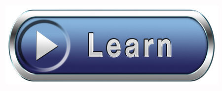 learn and study and find info icon, button or information sign. Online education and learning. Search and find knowledge online. photo