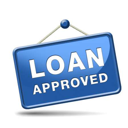 loan approved icon or button loaning money for car house education or approve mortgage funding Stock Photo