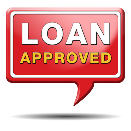 loan approved icon or button loaning money for car house education or approve mortgage funding Stock Photo - 24421248