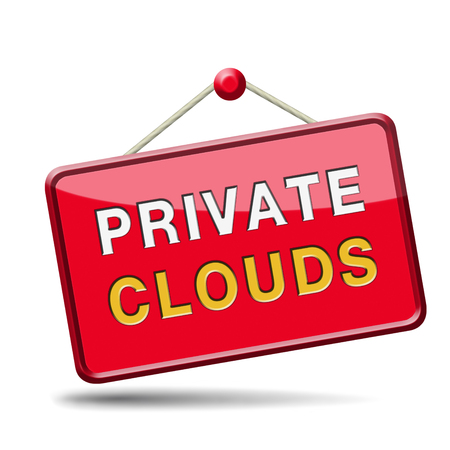 private cloud: private clouds cloud computing resources for storage and exchange of data on online database software network Stock Photo