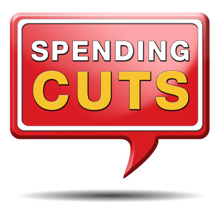 cutback:  spending cut lower budgets and public spendings cuts economic recession Stock Photo