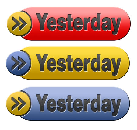 yesterday: Yesterday icon or button passed day or time Stock Photo
