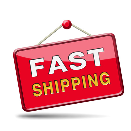 fast shipping package delivery from online internet webshop order shopping icon or button for web shop Stock Photo - 24457725