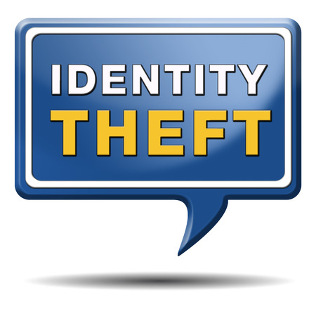 identity theft stop warning sign stealing ID online is an internet or cyber crime Stock Photo - 24457936