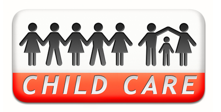 child care: child care in daycare or crèche by nanny or au pair parenting or babysitting children protection against abuse