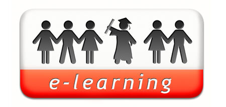 e-learning online internet learning in open school or university virtual education elearning icon button or sign photo