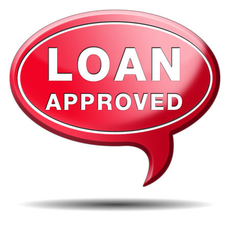loan approved icon or button loaning money for car house education or approve mortgage funding Stock Photo - 24737446