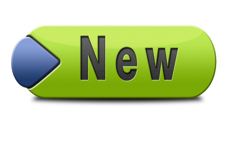 newest: New button or icon latest and newest brand of product availabel now Stock Photo