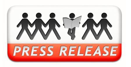 press release wtih breaking hot and latest news items button or icon Stock Photo - 24739600