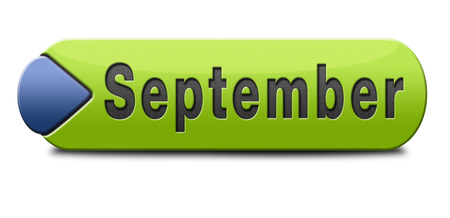 end month: september button or icon for end of summer and begin fall or autumn month
