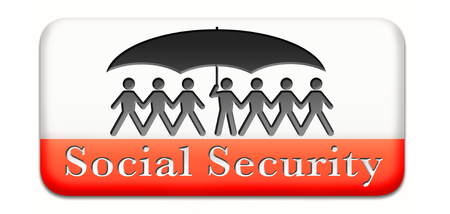 social security services benefit plans for retirement healthcare disability and unemployment paperman silhouette under umbrella photo