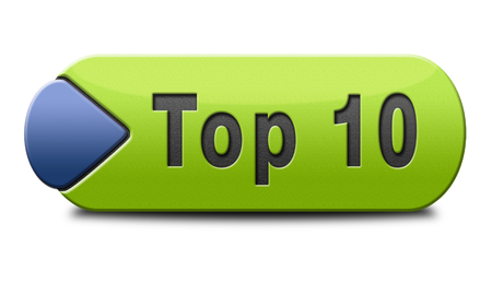 hits: top 10 charts list pop poll result button and award winners chart ranking music hits best top ten quality rating prize winner icon  Stock Photo