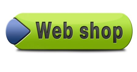 shop button: web shop button or online shopping icon for internet webshop or store