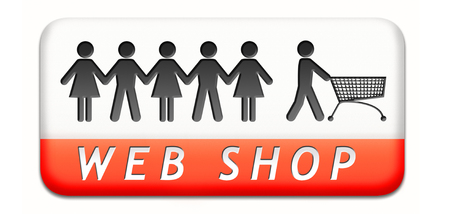 web shop order online at internet webshop store, shopping button or icon Stock Photo - 24739766