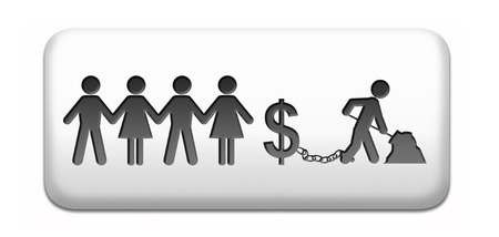 worked: workaholic money slave working hard to earn income by doing over time in a difficult job like in slavery or being under paid paper cahin silhouette Stock Photo