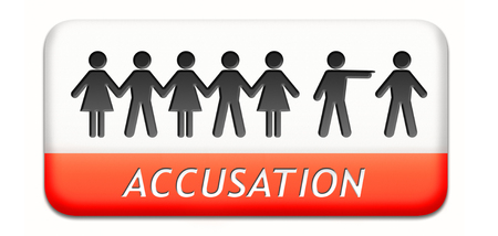 accusation: accusation by pointing finger charged or found guilty of a crime or not by judge