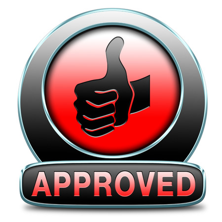 accredited: approved passed test and access granted approval and accepted accredited button or icon Stock Photo