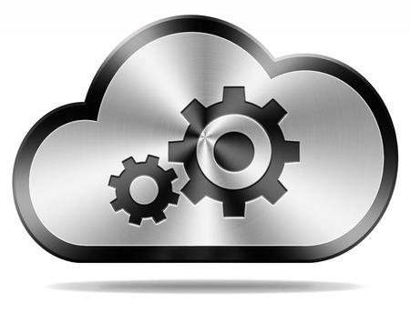 usługodawcy: Chmura konserwacji komputerowy i dostawca hostingu ikonę oprogramowania lub wykonania usługi i infrastrukturę przycisk prywatnego i publicznego hybrydowego przechowywania danych Zdjęcie Seryjne