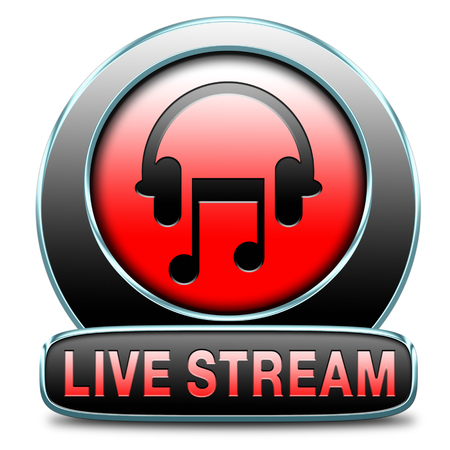 live stream listening: music live stream radio music button icon or listen live on air broadcasting songs program