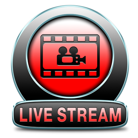 live stream tv: live stream video button icon or sign live on air broadcasting tv movie or watch television program
