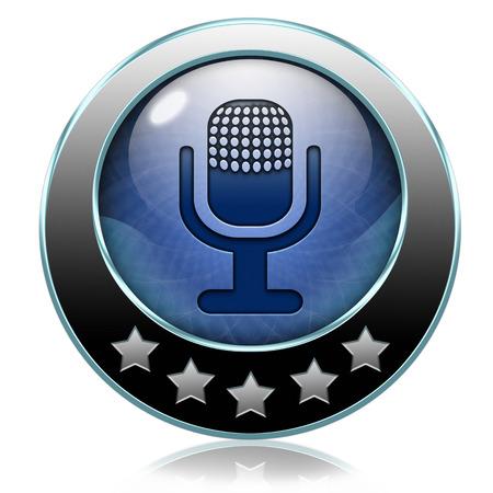 live stream music: live on air radio podcast music broadcast live stream broadcasting icon or button Stock Photo