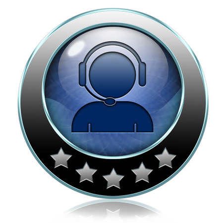 service desk: help desk or online support call center button or icon customer service Stock Photo