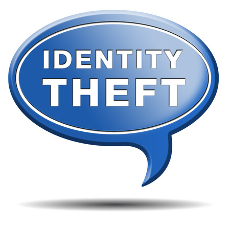 identity theft stop warning sign stealing ID online is an internet or cyber crime Stock Photo - 25319077