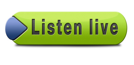 live stream listening: Listen live stream music song audio or radio button Stock Photo