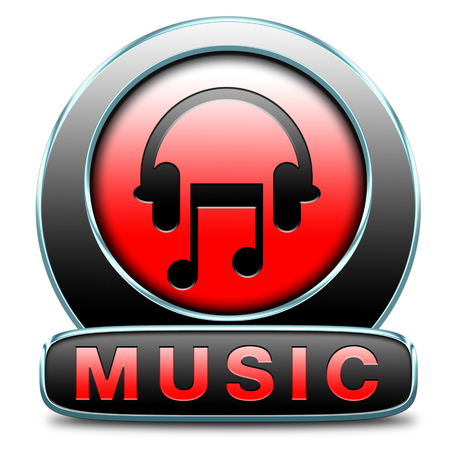 Music button or icon to play and to listen live stream or for download song photo