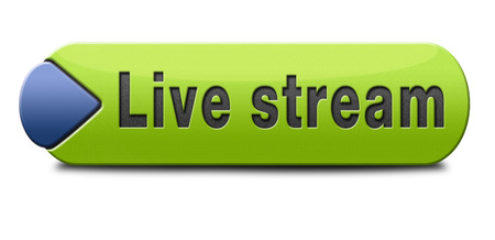 livestream: live stream tv music or video button icon or sign live on air broadcasting movie or radio program Stock Photo